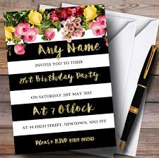 Pink Floral Black White Gold 21st Personalised Birthday Party Invitations