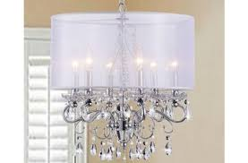gorgeous crystal chandelier with shade of allured translucent fabric com