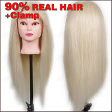 new 24 90 real human hair training head practice hairdressing mannequin cosmetology hair styling mannequins with free cl