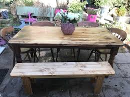 solid oak farmhouse dining table 5 chairs and bench