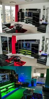 Living room = game room LED Lighting in a sleek Media Entertainment Center  - via user The_One in the Digital Spy forums
