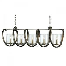 seeded glass and wrought iron chandelier