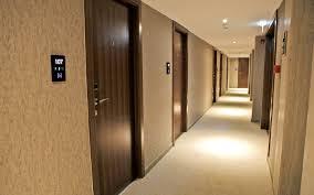 cool hallway lighting. Hotel Hallway Lighting Ideas. Futuristic Corridor Design Has White Off Floor With Black Door Cool Y