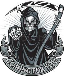 <b>Grim Reaper</b> Skull And Cross Scythes and Wings Middle <b>Finger</b>