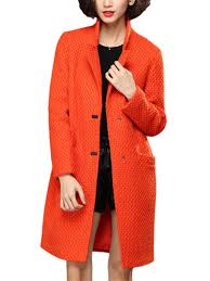 plus size pure color orange winter peacoat