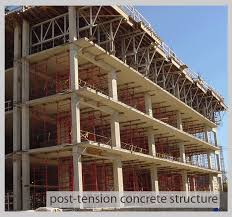 concrete framed structures can be cast in place pan joists and beams or two way flat slab either mild steel reinforced or post tensioned