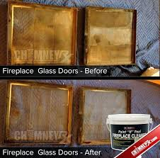 clean soot glass fireplace doors cleaned paint l how to wood