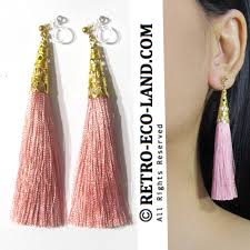 16 rel vintage rose pink fringed chandelier long dangle tassel clip on earrings