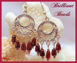 genuine garnet antiqued silver chandelier earrings srajd garnet earrings garnet chandelier earrings