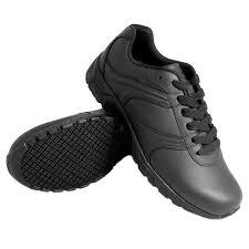 black leather athletic plain toe non slip shoe main picture