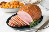baked ham with sweet and baked potatoes