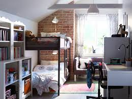 ikea bed furniture. shared childrenu0027s bedroom with white and exposed brick walls metal bunkbed ikea bed furniture
