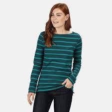 <b>Women's</b> Flordelis Striped <b>Long Sleeve T</b>-<b>Shirt Deep</b> Teal <b>Deep</b> Lake
