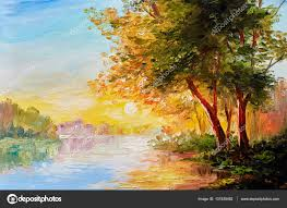 oil painting landscape river in the spring forest with sunset afternoon stock photo