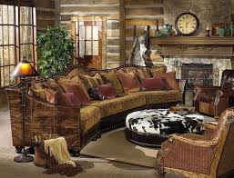 rustic leather living room furniture. Rustic Living Room With Stone Wall Featuring Leather Sofa And Chairs Furniture C