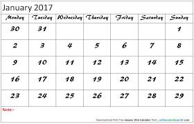January 2017 Calendar Editable