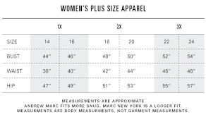 Plus Size Chart India Size Fit Andrew Marc