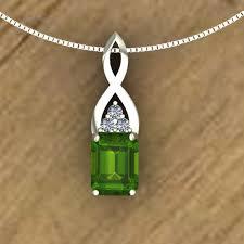 peridot pendant emerald cut infinity