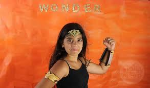 kids wonder woman costume with homemade headband cuffs and armbands by brenda ponnay