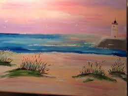 sunset beach lighthouse painting donnsart