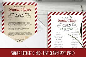 Santa Letter Nice List Editable Christmas Pdf Template