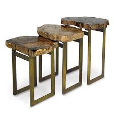 natural elements artistic 24 tall petrified wood side table unique limited ion item limited stock