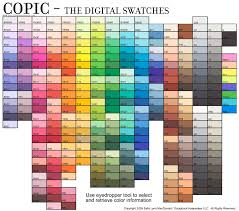 Copic Swatch Chart The Digital Swatches Copic Color Chart Copic Copic