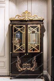 Living Room China Cabinet Room Antique Wood Furniture Glass Cabinet 2 Doors Golden Color Tp 025b