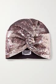<b>Mary Jane Claverol</b> Adele Sequined Stretch-cotton Turban In Rose ...