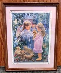 >art homco home interiors courtyard framed wall picture lene alston  home interiors gifts homco little girl puppies guardian angel framed wall art