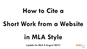 Cite A Short Work From A Website In Mla 8 Style