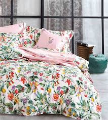 colorful blooming botanical garden cottage country style 3pc duvet cover