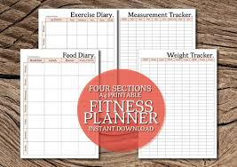 Food And Exercise Diary Printable 4 Section Fitness Planner A4 Planner Set 4 Pages Classic Peach Food And Exercise Diary Measurement And Weight Tracker
