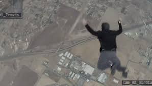 man jumps from a plane without a parachute and lands on a trampoline daily mail
