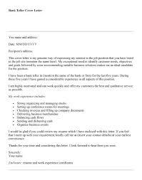 Cover Letter For Bank Teller Resume Cv Cover Letter