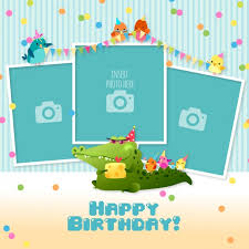 Templates For Birthday Cards Birthday Card With Templates For Photos Vector Free Download