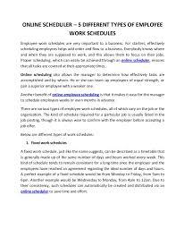 Online Work Schedule Online Scheduler 5 Different Types Of Employee Work Schedules