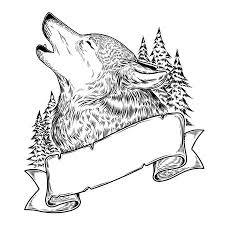 Vektor Illustration Von Einem Heulenden Wolf Gravur Drucken Für T