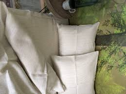 linen duvet cover in natural and white pinstripe