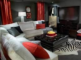 dark basement decorating ideas. Interesting Decorating Narrow Basement Family Room With Gray Wall Paint And Red Curtains Also  Using Dark Leather Ottoman Coffee Table Decorating Ideas