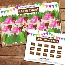 Girl Scout Camping Kaper Chart Template Girl Scout Kaper Chart Girl Scout Kaper Chart Name Cards