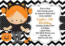 Black Cat Trick Or Treat Costume Party Birthday Invitations
