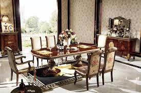 Klassische Barock Esszimmer Tisch Stühle Holz Esstisch 6
