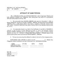 Affidavit Of Same Person Sample