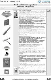 Produktpreisliste Rauch Und Wärmeabzugsanlagen Muster Einer Rwa