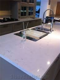 artificial engineered quartz stone slab polished surfaces for kitchen tops countertops islands manmade from guangdong china in custom sizes and edge