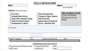 Sample Policy Review Forms 8 Free Documents In Word Pdf