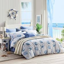 ocean blue and white ocean themed seashell seahorse seastar and c reef print stylish 100 cotton full queen size bedding sets