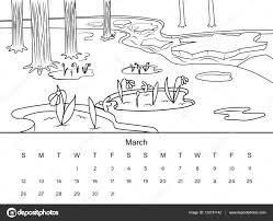 Kalender Met Kleurplaten Boek Vectorillustratie Stockvector