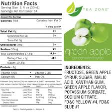 Green Apple Nutrition Chart Tea Zone Green Apple Syrup 64oz Mission Total Supply
